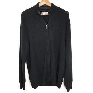 Calvin Klein Full Zip Black Knit Sweater Cardigan